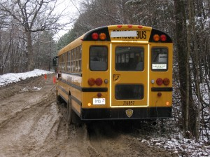 school bus stuck on the road