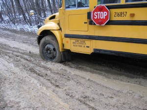 school bus stuck