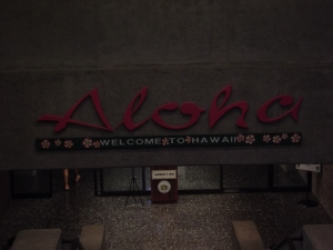 Aloha sign at Airport