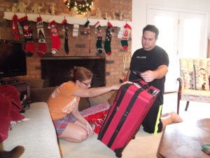 "We got a luggage set from ""Santa"""