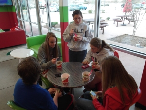 kids eating at Cherry Berry