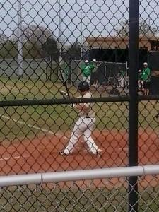 This is Tyler, batting, during the JV baseball game at school
