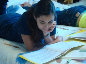 Melissa reading her quiet time
