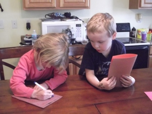 """Hannah and Ethan working on their """"books"""""""