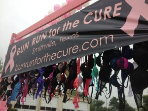 "they had bras hanging from the ""start line"""