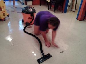 Jasmine shop-vacuuming the big room