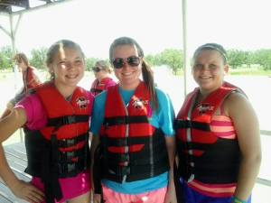 Madison, Dana, and Macie getting ready to get into the lake