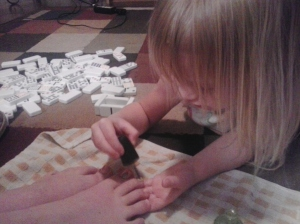 Presley painting Dana's nails