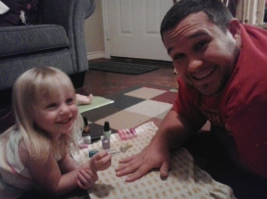 Presley painting Paul's nails!