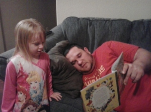 Paul reading to Presley
