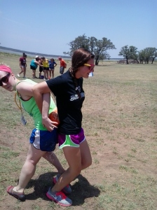 """Morgan playing a relay game with her """"team"""""""