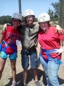 Melissa, Adara, and Lillie ready for the Ropes Course