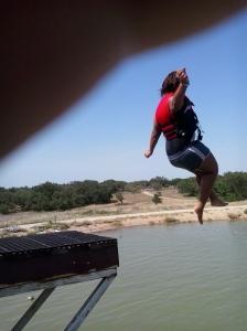 Jasmine jumping on the blob (pardon my finger)