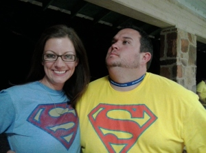 """Paul and I in our """"Superman"""" (Wal-mart) shirts..."""