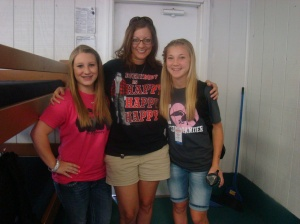 "Me with Jaycie and Madison in our ""Duck Dynasty"" shirts"