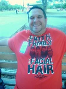 """Paul in his """"Duck Dynasty"""" shirt--Faith, Family, and Facial Hair"""