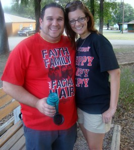 """Paul and I together in our """"Duck Dynasty"""" shirts"""
