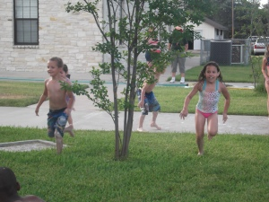 running to the slip n slide