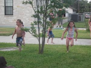 running to the slip n slide