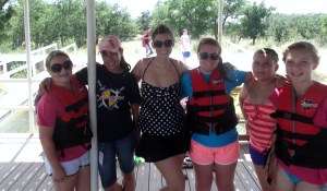 the girls (plus me) getting ready to get into the lake