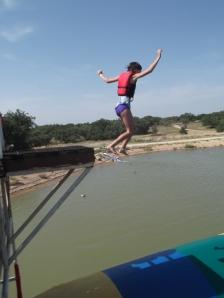 Adara jumping on the blob