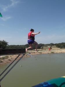 Macie jumping onto the blob