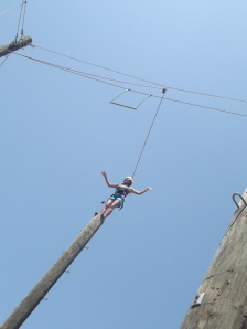 Melissa about to jump