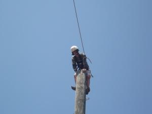 Adara climbing up the Leap of Faith