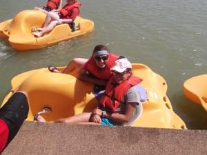 Melissa and I paddleboating