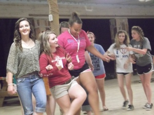 Morgan, Jaycie, and Jasmine doing the Cotton-Eyed Joe