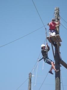Adara going down the Zipline
