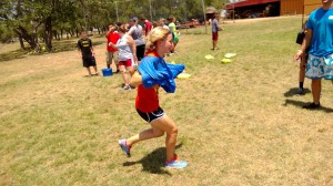 Madison playing a relay race