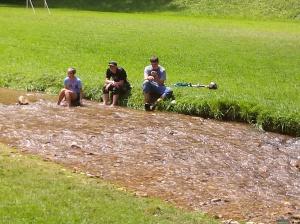 taking a break near the creek