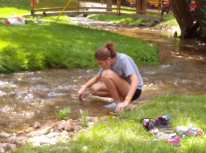 "Victoria ""fishing"" for crawdads"