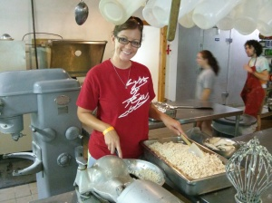 Me working in the kitchen, shredding 400 chicken breasts!