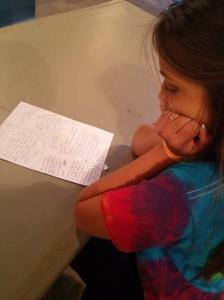 Lauren reading her encouragement notes