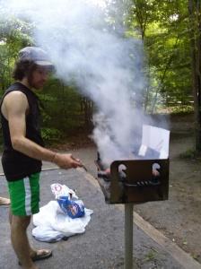Josh cooking dinner