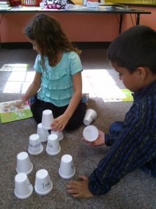 Zoe working on the Cup Tower