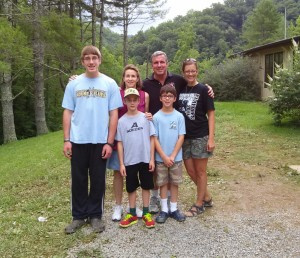 Stephen (15), Elizabeth, Teddy and Christopher (9), Jamie, and me