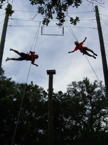 "Taylor and Lindsey ""flying"" off the Power Pole"