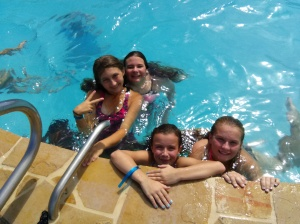 the girls swimming