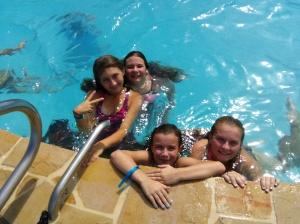 the girls swimming