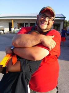 "Paul and Jalisa in a ""head hug"""
