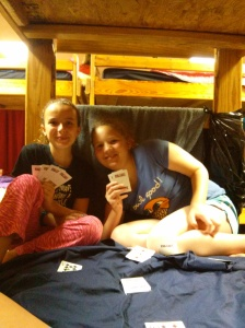 "playing a late night game of ""Go Fish"""