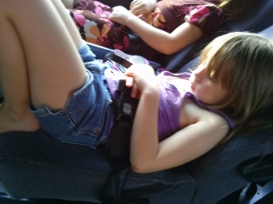 Sierra sleeping on the bus