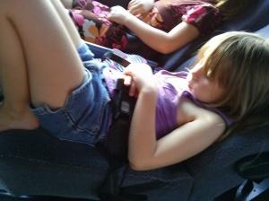 Sierra sleeping on the bus