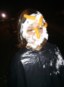 Aislyn (with shaving cream and cheetos on her face)