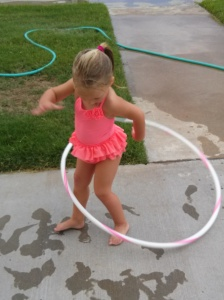 "Henlee ""trying"" to hula-hoop"