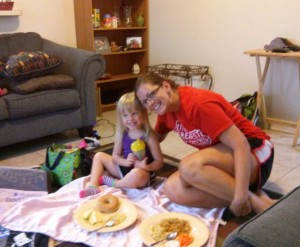 "Presley and our ""picnic"" lunch"