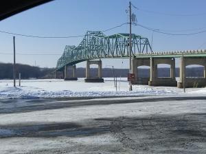 Lacon bridge over the frozen Illinois River
